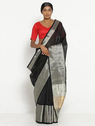 Black Silk Cotton Saree with Zari
