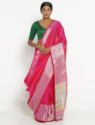 Pink Silk Cotton Saree with Zari