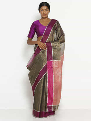 Black-Purple Tissue Saree with Zari