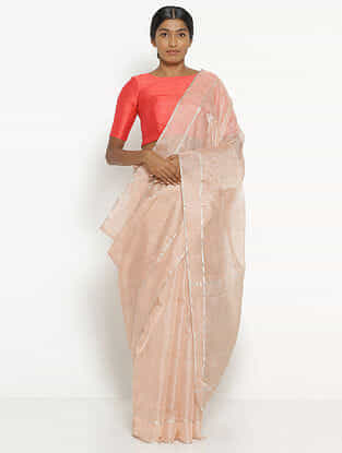 Pink Tissue Saree with Zari