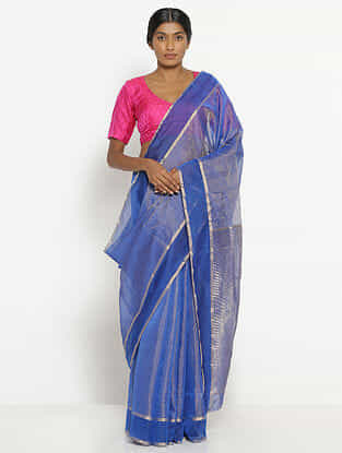 Blue Silk Cotton Saree with Zari