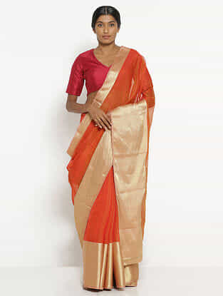 Orange Silk Cotton Saree with Zari