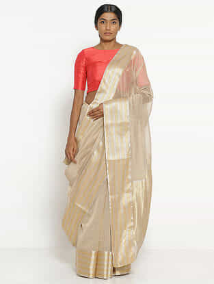 Ivory Silk Cotton Saree with Zari