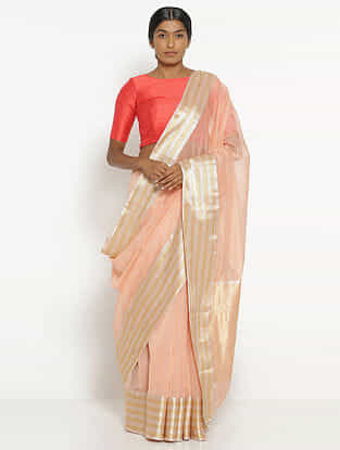 Peach Silk Cotton Saree with Zari