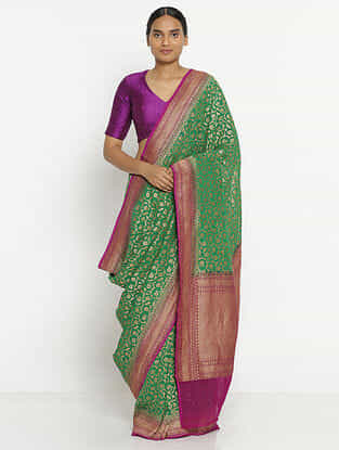 Green-Purple Benarasi Georgette Saree with Zari