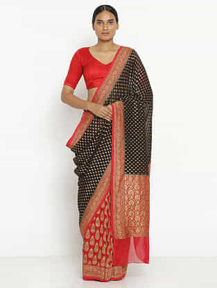 Black-Red Benarasi Georgette Saree with Zari