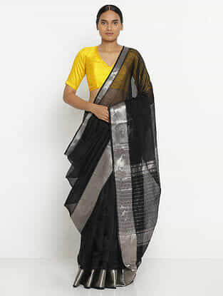 Black Silk Cotton Saree with Zari