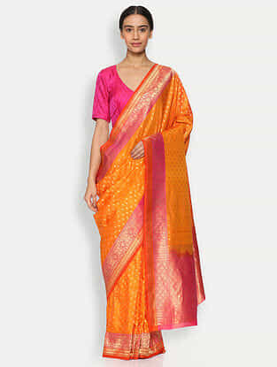 Orange Benarasi Silk Saree with Zari