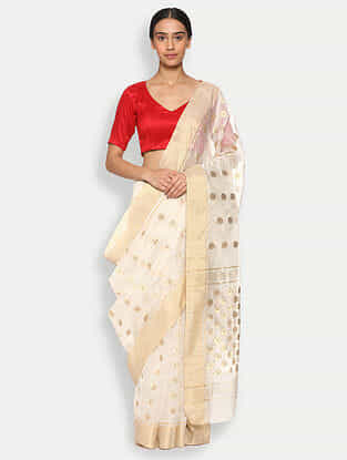 White Silk Cotton Saree with Zari