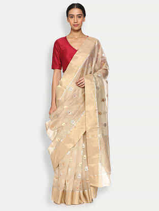 Beige Silk Cotton Saree with Zari