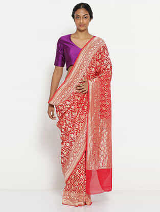 Pink Benarasi Georgette Saree with Zari