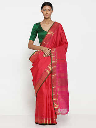 Pink Silk Saree with Zari