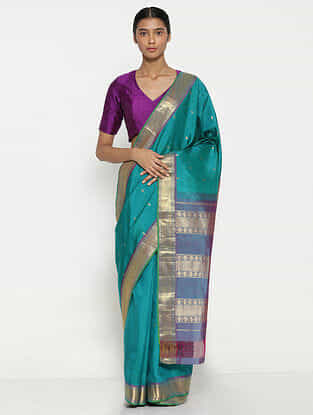Blue Silk Saree with Zari