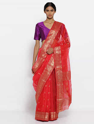 Red Silk Saree with Zari
