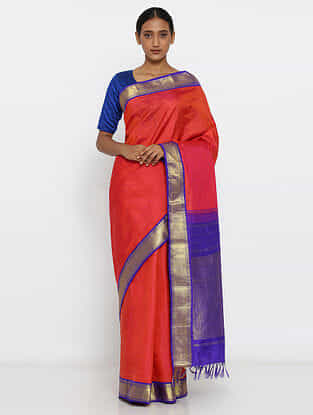 Pink-Blue Silk Saree with Zari