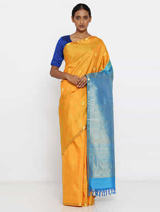 Yellow-Blue Silk Saree with Zari