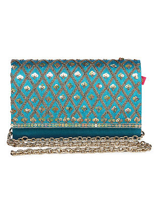 Turquoise Zari Embroidered Dupion Silk Clutch