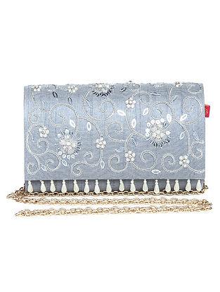 Silver Grey Zari Embroidered Dupion Silk Clutch