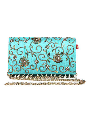 Blue Zari Embroidered Dupion Silk Clutch