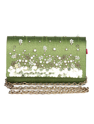 Olive Green Embroidered Dupion Silk Clutch with Sequins