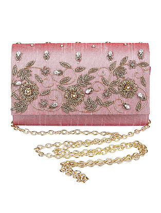 Pink Zardozi Hand-Embroidered Dupion Silk Clutch