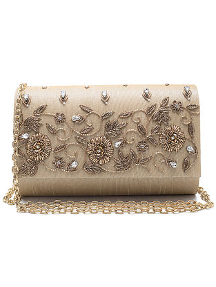 Cream Zardozi Hand-Embroidered Dupion Silk Clutch