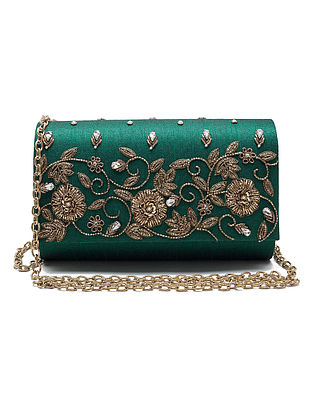 Green Zardozi Hand-Embroidered Dupion Silk Clutch