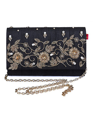 Black Zardozi Hand-Embroidered Dupion Silk Clutch