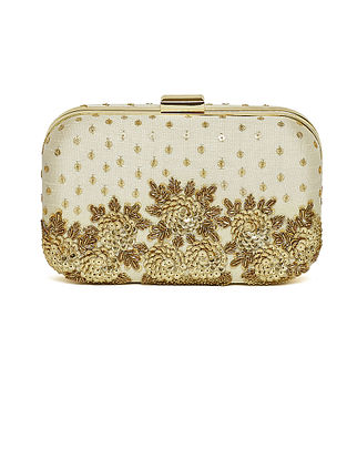 Cream Embroidered Dupion Silk Clutch