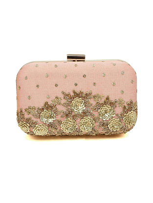 Pink Embroidered Dupion Silk Clutch