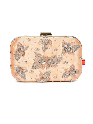 Powder Pink Embroidered Dupion Silk Clutch