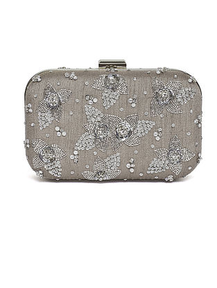 Grey Embroidered Dupion Silk Clutch