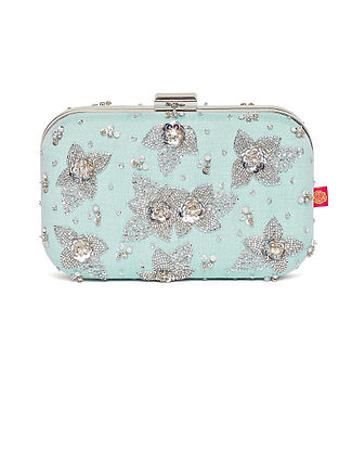 Powder Blue Embroidered Dupion Silk Clutch