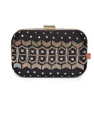 Black Embroidered Dupion Silk Clutch
