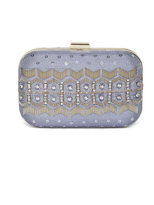 Silver Embroidered Dupion Silk Clutch