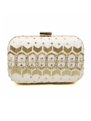 White Embroidered Dupion Silk Clutch