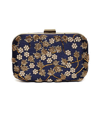 Navy Blue Embroidered Dupion Silk Clutch