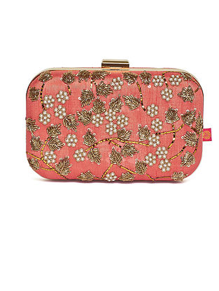 Coral Embroidered Dupion Silk Clutch