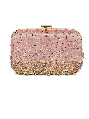 Blush Pink Embroidered Dupion Silk Clutch