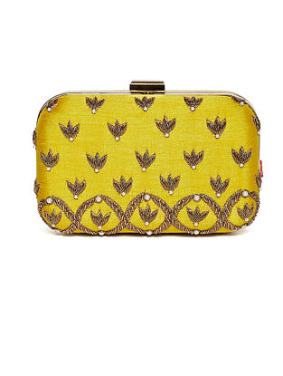 Yellow Embroidered Dupion Silk Clutch