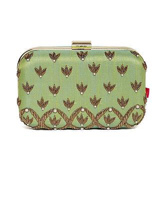 Green Embroidered Dupion Silk Clutch