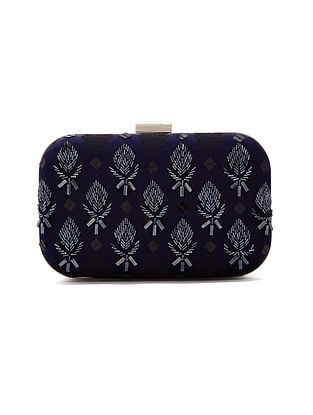 Black Handcrafted Chanderi Silk Clutch
