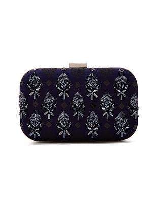 Black Handcrafted Chanderi Silk Clutch