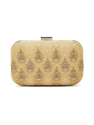Gold Handcrafted Chanderi Silk Clutch