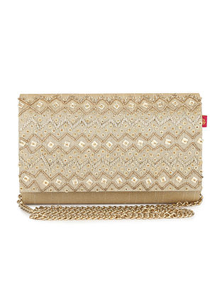 Gold Embellished Dupion Silk Clutch with Sequins and Cut Dana
