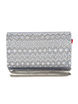 Grey Embellished Dupion Silk Clutch with Sequins and Cut Dana