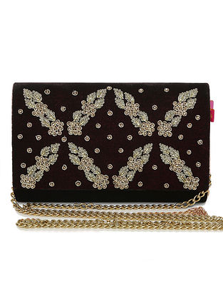 Maroon Embellished Velvet Clutch with Crystals