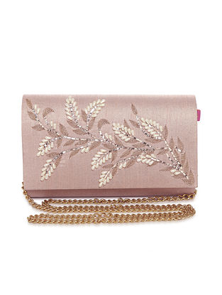 Pink Embellished Dupion Silk Clutch with Pearls
