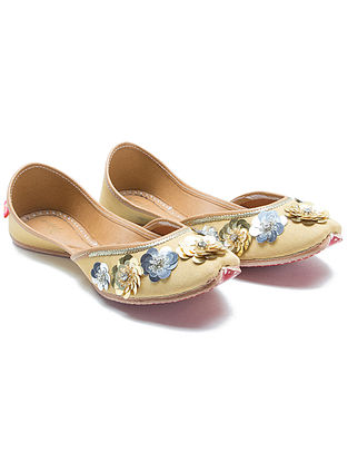 Golden Handcrafted Dupion Silk and Leather Juttis with Sequins