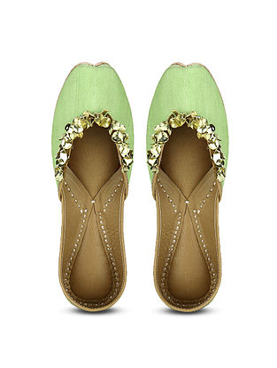 Lime Green Handcrafted Dupion Silk and Leather Juttis with Sequins